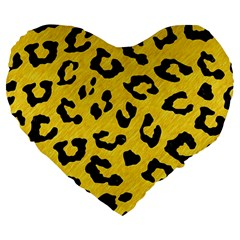 Skin5 Black Marble & Yellow Colored Pencil (r) Large 19  Premium Flano Heart Shape Cushions by trendistuff