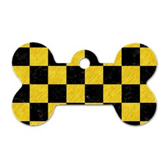 Square1 Black Marble & Yellow Colored Pencil Dog Tag Bone (one Side) by trendistuff