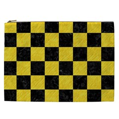 Square1 Black Marble & Yellow Colored Pencil Cosmetic Bag (xxl)  by trendistuff
