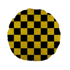 Square1 Black Marble & Yellow Colored Pencil Standard 15  Premium Flano Round Cushions by trendistuff
