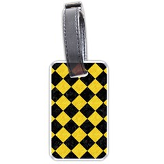 Square2 Black Marble & Yellow Colored Pencil Luggage Tags (one Side)  by trendistuff
