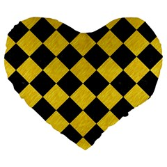 Square2 Black Marble & Yellow Colored Pencil Large 19  Premium Flano Heart Shape Cushions by trendistuff