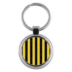 Stripes1 Black Marble & Yellow Colored Pencil Key Chains (round)  by trendistuff