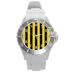 Stripes1 Black Marble & Yellow Colored Pencil Round Plastic Sport Watch (l) by trendistuff