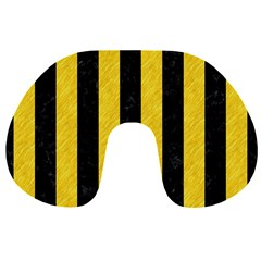 Stripes1 Black Marble & Yellow Colored Pencil Travel Neck Pillows