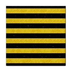 Stripes2 Black Marble & Yellow Colored Pencil Tile Coasters by trendistuff