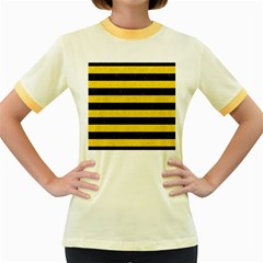Stripes2 Black Marble & Yellow Colored Pencil Women s Fitted Ringer T Shirts by trendistuff