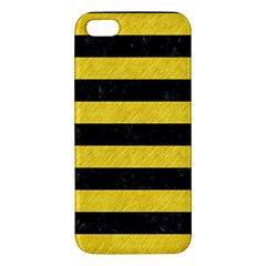 Stripes2 Black Marble & Yellow Colored Pencil Iphone 5s/ Se Premium Hardshell Case
