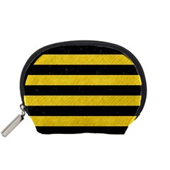 Stripes2 Black Marble & Yellow Colored Pencil Accessory Pouches (small)  by trendistuff