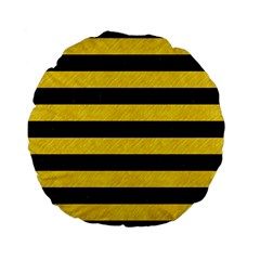 Stripes2 Black Marble & Yellow Colored Pencil Standard 15  Premium Flano Round Cushions by trendistuff