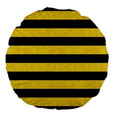 Stripes2 Black Marble & Yellow Colored Pencil Large 18  Premium Flano Round Cushions by trendistuff