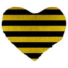 Stripes2 Black Marble & Yellow Colored Pencil Large 19  Premium Flano Heart Shape Cushions by trendistuff