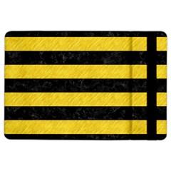 Stripes2 Black Marble & Yellow Colored Pencil Ipad Air 2 Flip by trendistuff
