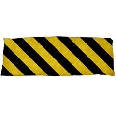 Stripes3 Black Marble & Yellow Colored Pencil Body Pillow Case (dakimakura)