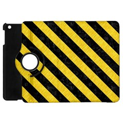 Stripes3 Black Marble & Yellow Colored Pencil Apple Ipad Mini Flip 360 Case by trendistuff