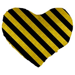 Stripes3 Black Marble & Yellow Colored Pencil Large 19  Premium Flano Heart Shape Cushions by trendistuff
