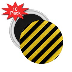 Stripes3 Black Marble & Yellow Colored Pencil (r) 2 25  Magnets (10 Pack)  by trendistuff