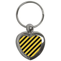 Stripes3 Black Marble & Yellow Colored Pencil (r) Key Chains (heart)  by trendistuff
