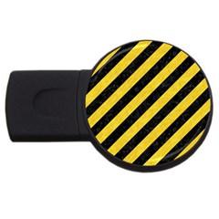 Stripes3 Black Marble & Yellow Colored Pencil (r) Usb Flash Drive Round (2 Gb) by trendistuff
