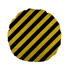 Stripes3 Black Marble & Yellow Colored Pencil (r) Standard 15  Premium Flano Round Cushions by trendistuff