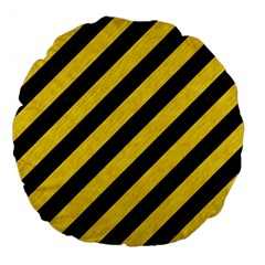 Stripes3 Black Marble & Yellow Colored Pencil (r) Large 18  Premium Flano Round Cushions by trendistuff