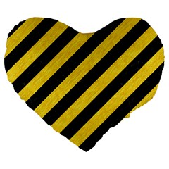 Stripes3 Black Marble & Yellow Colored Pencil (r) Large 19  Premium Flano Heart Shape Cushions by trendistuff