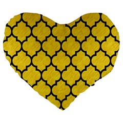 Tile1 Black Marble & Yellow Colored Pencil Large 19  Premium Flano Heart Shape Cushions by trendistuff