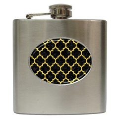 Tile1 Black Marble & Yellow Colored Pencil (r) Hip Flask (6 Oz) by trendistuff