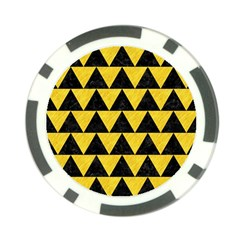 Triangle2 Black Marble & Yellow Colored Pencil Poker Chip Card Guard by trendistuff