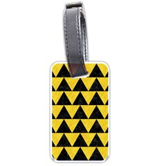 Triangle2 Black Marble & Yellow Colored Pencil Luggage Tags (two Sides) by trendistuff