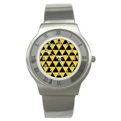 Triangle3 Black Marble & Yellow Colored Pencil Stainless Steel Watch