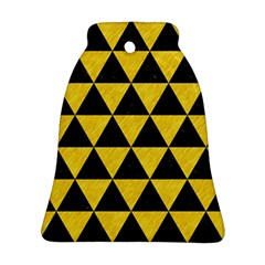 Triangle3 Black Marble & Yellow Colored Pencil Bell Ornament (two Sides) by trendistuff