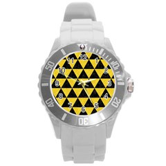 Triangle3 Black Marble & Yellow Colored Pencil Round Plastic Sport Watch (l) by trendistuff