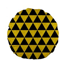 Triangle3 Black Marble & Yellow Colored Pencil Standard 15  Premium Flano Round Cushions by trendistuff