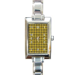 Woven1 Black Marble & Yellow Colored Pencil Rectangle Italian Charm Watch
