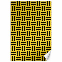 Woven1 Black Marble & Yellow Colored Pencil Canvas 12  X 18   by trendistuff