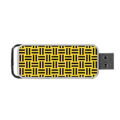 Woven1 Black Marble & Yellow Colored Pencil Portable Usb Flash (one Side)
