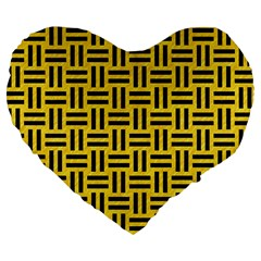 Woven1 Black Marble & Yellow Colored Pencil Large 19  Premium Heart Shape Cushions by trendistuff