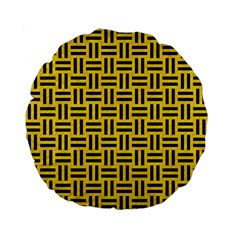 Woven1 Black Marble & Yellow Colored Pencil Standard 15  Premium Flano Round Cushions by trendistuff