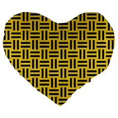 Woven1 Black Marble & Yellow Colored Pencil Large 19  Premium Flano Heart Shape Cushions by trendistuff