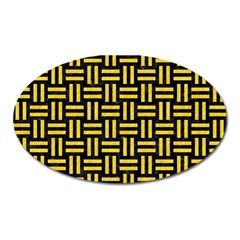 Woven1 Black Marble & Yellow Colored Pencil (r) Oval Magnet