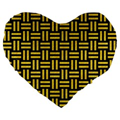 Woven1 Black Marble & Yellow Colored Pencil (r) Large 19  Premium Flano Heart Shape Cushions by trendistuff