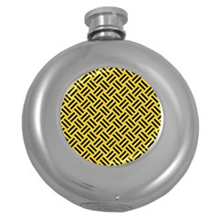 Woven2 Black Marble & Yellow Colored Pencil Round Hip Flask (5 Oz) by trendistuff