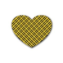Woven2 Black Marble & Yellow Colored Pencil Heart Coaster (4 Pack)  by trendistuff