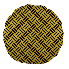 Woven2 Black Marble & Yellow Colored Pencil Large 18  Premium Flano Round Cushions by trendistuff