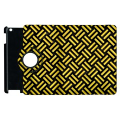 Woven2 Black Marble & Yellow Colored Pencil (r) Apple Ipad 3/4 Flip 360 Case by trendistuff
