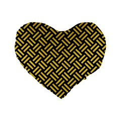 Woven2 Black Marble & Yellow Colored Pencil (r) Standard 16  Premium Flano Heart Shape Cushions by trendistuff