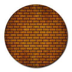 Brick1 Black Marble & Yellow Grunge Round Mousepads by trendistuff