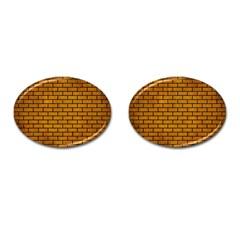 Brick1 Black Marble & Yellow Grunge Cufflinks (oval) by trendistuff