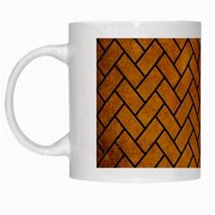 Brick2 Black Marble & Yellow Grunge White Mugs by trendistuff